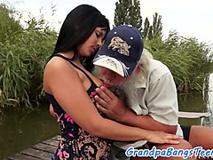 Sweet eurobabe fucked outdoors by grandpa