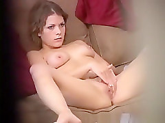 Girl caught masturbation in couch