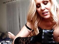 Cock Stroking Queen Milf Julia Ann Uses Gloves To Milk Dick!